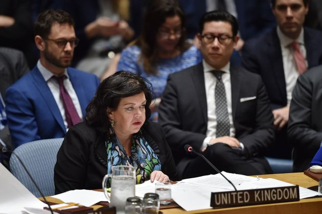 British Ambassador to the UN Karen Pierce speaks during a UN Security Council meeting, at United Nations Headquarters in New York