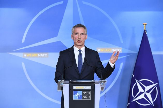 NATO General Secretary Jens Stoltenberg addresses a press conference in reaction of the strikes against...