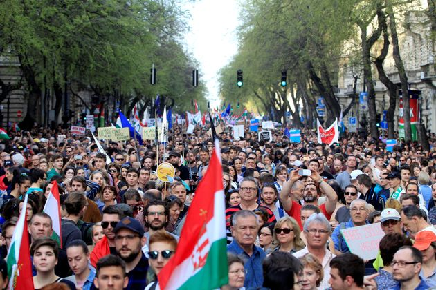 Peopletake to the streets in Budapest to oppose the government of Prime Minister Viktor Orbán...