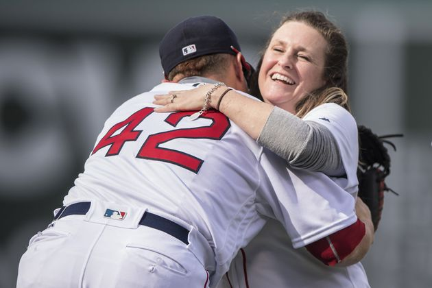 Sdoia reacts after throwing out the ceremonial first pitch at Fenway Park in Boston on April 15,