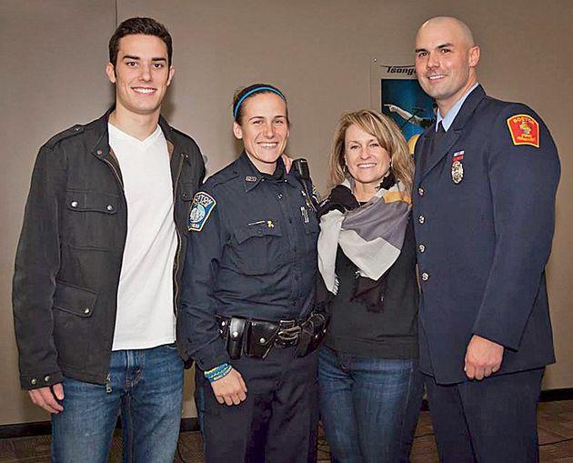 From left: Shores Salter, Boston police officer Shana Cottone, Roseann Sdoia and Boston firefighter Mike