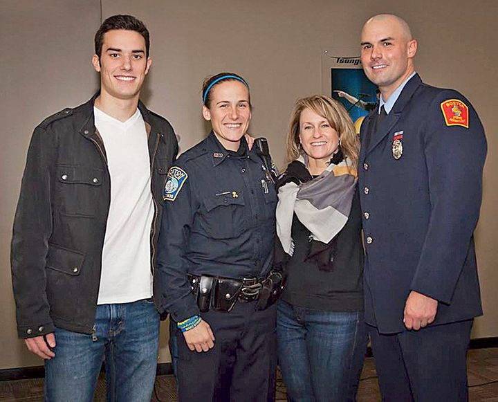 From left: Shores Salter, Boston police officer Shana Cottone, Roseann Sdoia and Boston firefighter Mike Materia.