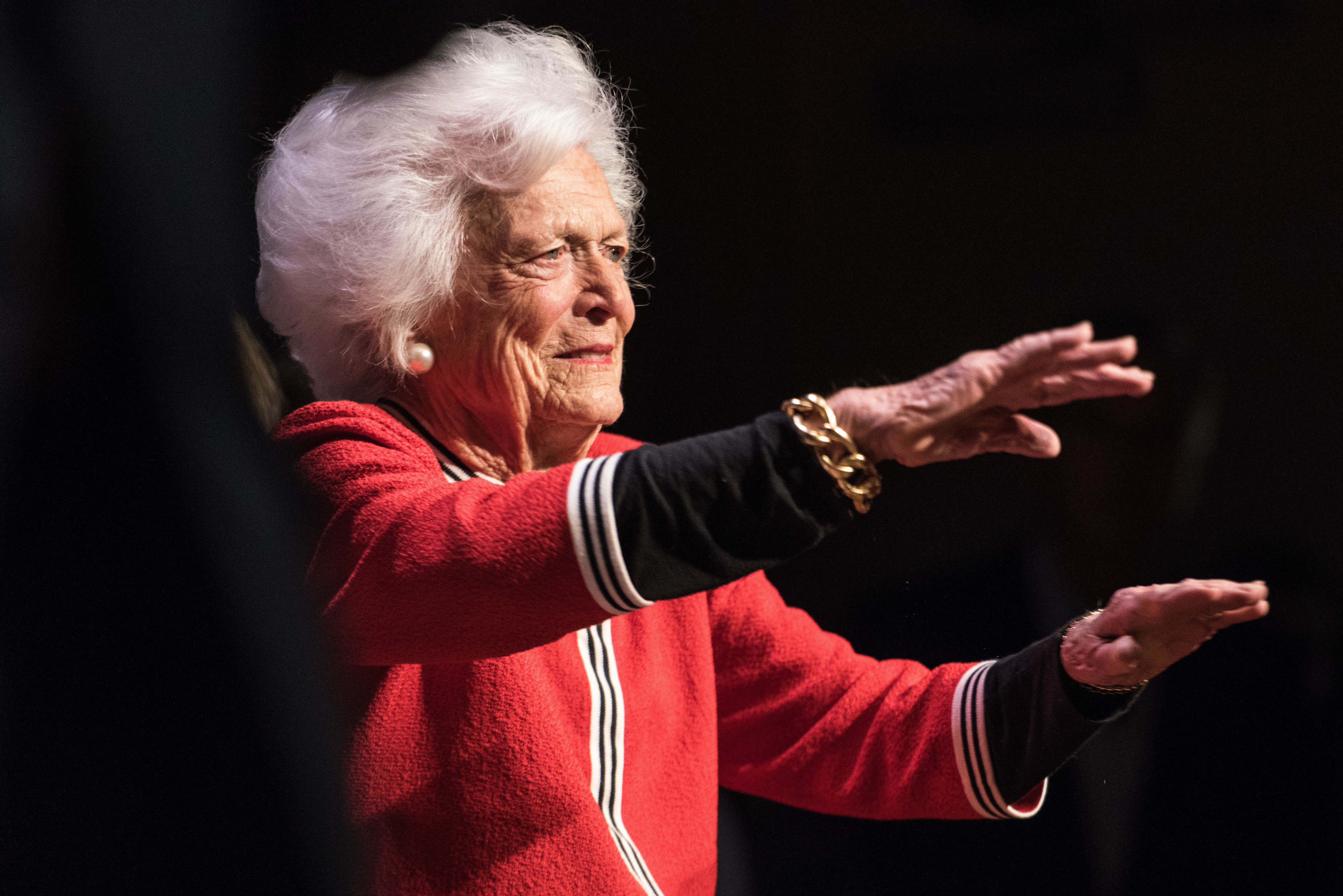 GREENVILLE, SC - FEBRUARY 19: Former first lady Mrs. Barbara Bush waves to the crowd at a campaign event for her son, Republican presidential candidate Jeb Bush, February 19, 2016 in Greenville, South Carolina. The South Carolina Republican primary will be held Saturday, February 20. (Photo by Sean Rayford/Getty Images)
