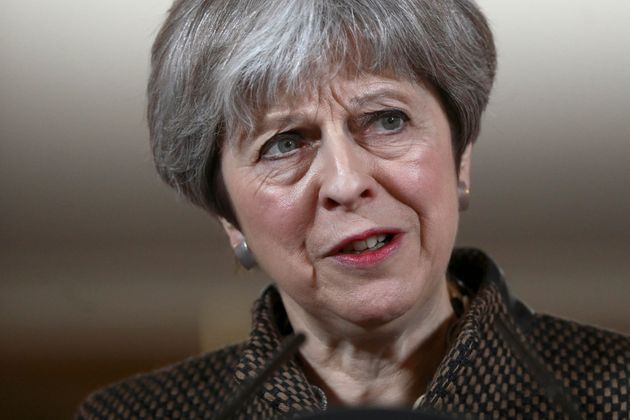 Prime Minister Theresa May during a press conference in 10 Downing Street, London on the air strikes against Syria.