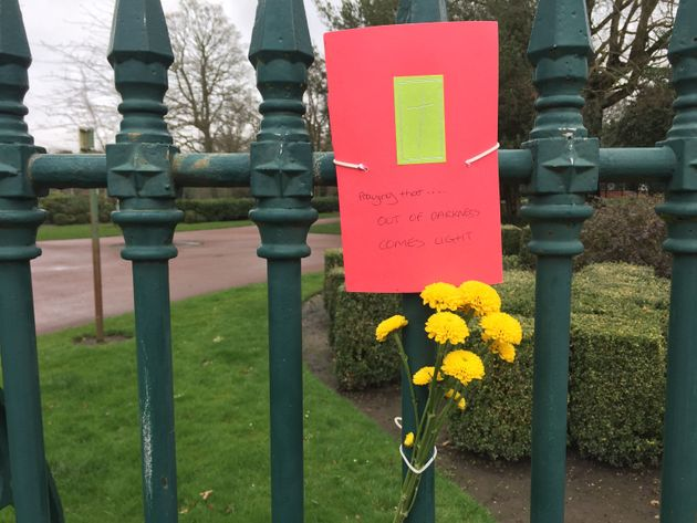 A tribute is left at West Park, Wolverhampton, where the body of Viktorija Sokolova was found.