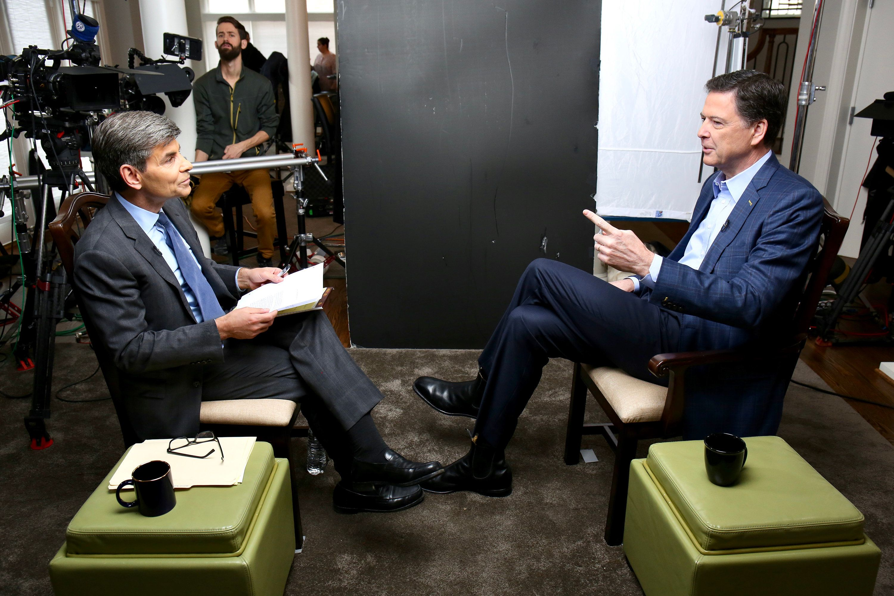 ABC NEWS - George Stephanopoulos sits down with former FBI director James Comey for an exclusive interview that will air during a primetime '20/20' special on Sunday, April 15, 2018 on the ABC Television Network.   (Photo by Ralph Alswang/ABC via Getty Images) GEORGE STEPHANOPOULOS, JAMES COMEY
