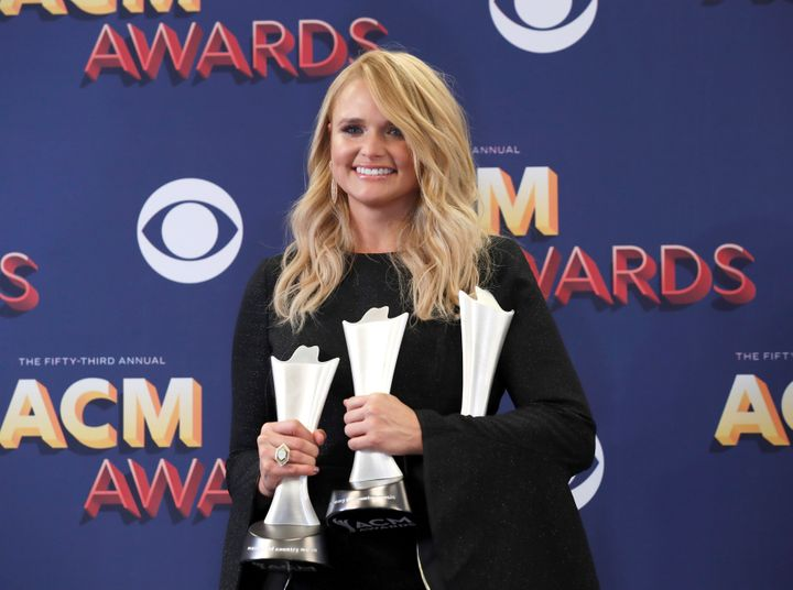 Miranda Lambert poses backstage with her awards, including Female Vocalist of the Year.