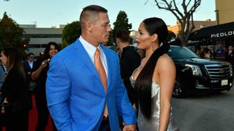 WESTWOOD, CA - APRIL 03:  John Cena (L) and Nikki Bella attend the premiere of Universal Pictures' 'Blockers' at Regency Village Theatre on April 3, 2018 in Westwood, California.  (Photo by Matt Winkelmeyer/Getty Images)