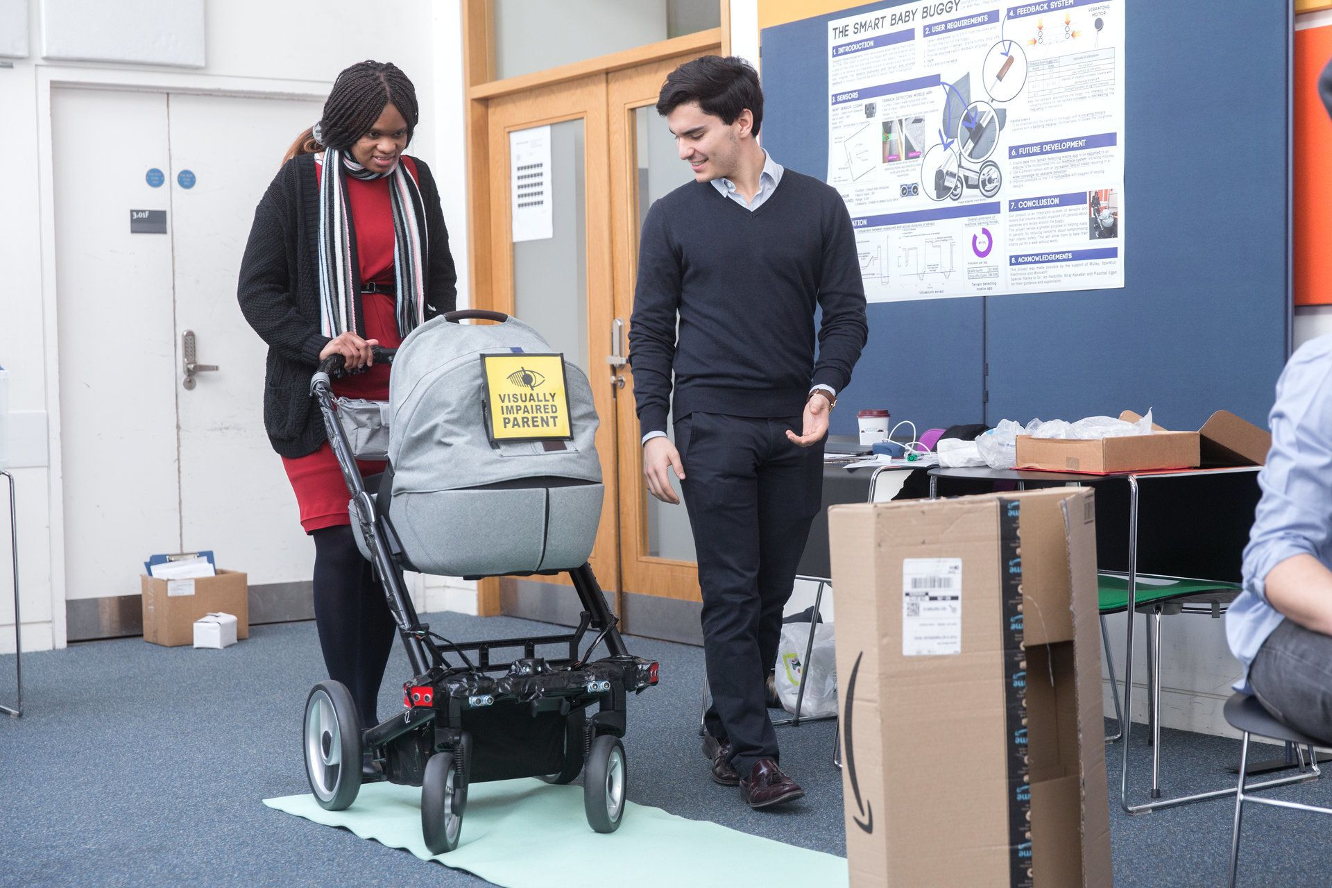 This Visually-Impaired Woman Has Designed A Buggy That Lets Blind Parents Know If There Are Obstacles