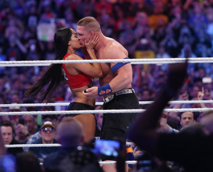 John Cena and Nikki Bella get engaged during WrestleMania 33 on April 2, 2017, in Orlando, Florida.
