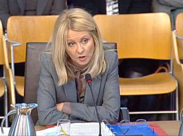 Esther McVey giving evidence at the Social Security Committee at