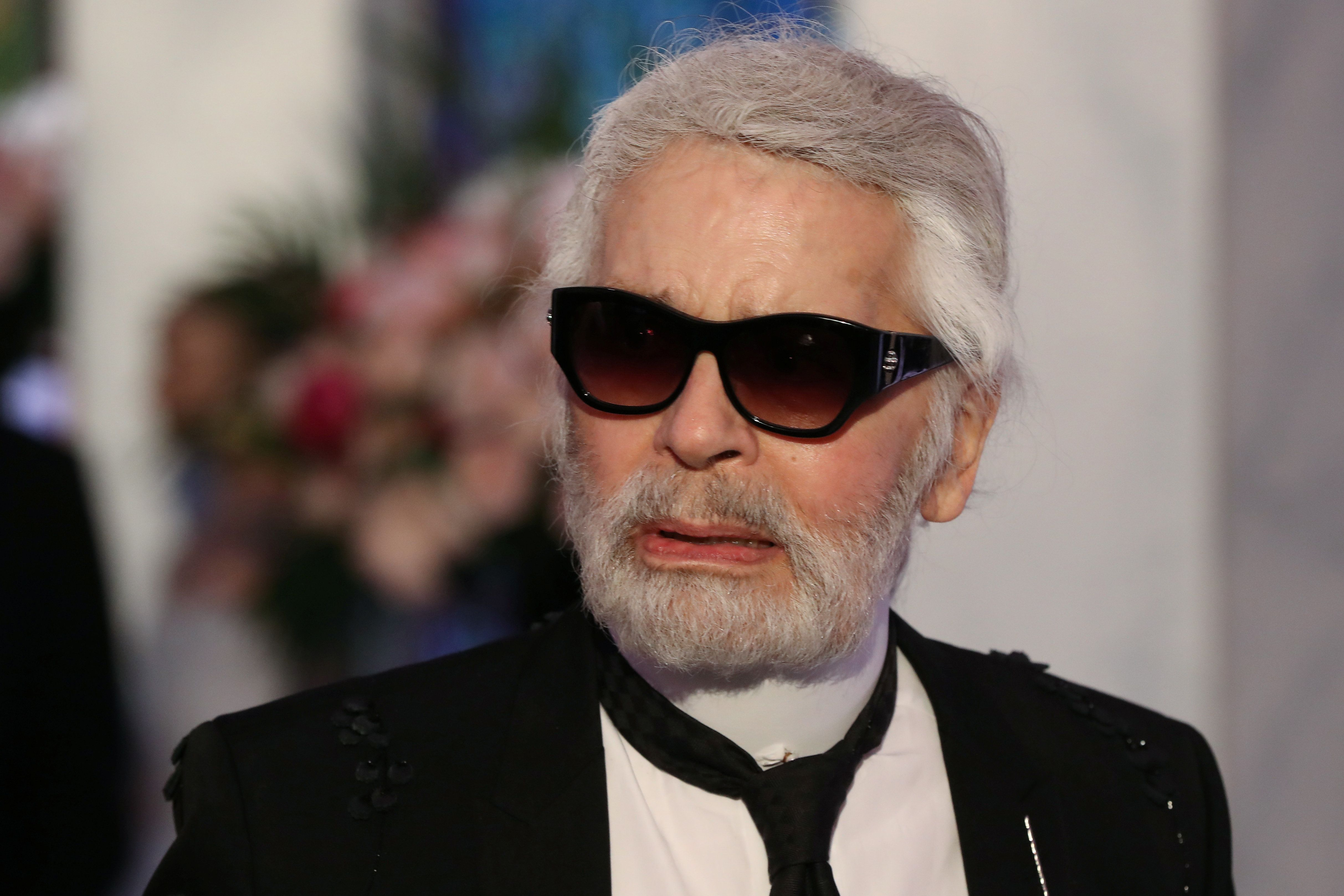 German fashion designer Karl Lagerfeld arrives for the annual Rose Ball at the Monte-Carlo Sporting Club in Monaco, March 24, 2018. Picture taken March 24, 2018. Valery Hache/Pool via Reuters