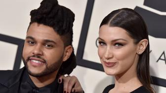 LOS ANGELES, CA - FEBRUARY 15:  Singer The Weeknd (L) and model Bella Hadid arrive at The 58th GRAMMY Awards at Staples Center on February 15, 2016 in Los Angeles, California.  (Photo by Axelle/Bauer-Griffin/FilmMagic)