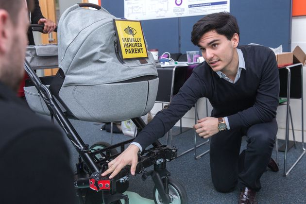 An early prototype of the smart buggy, with sensors on the