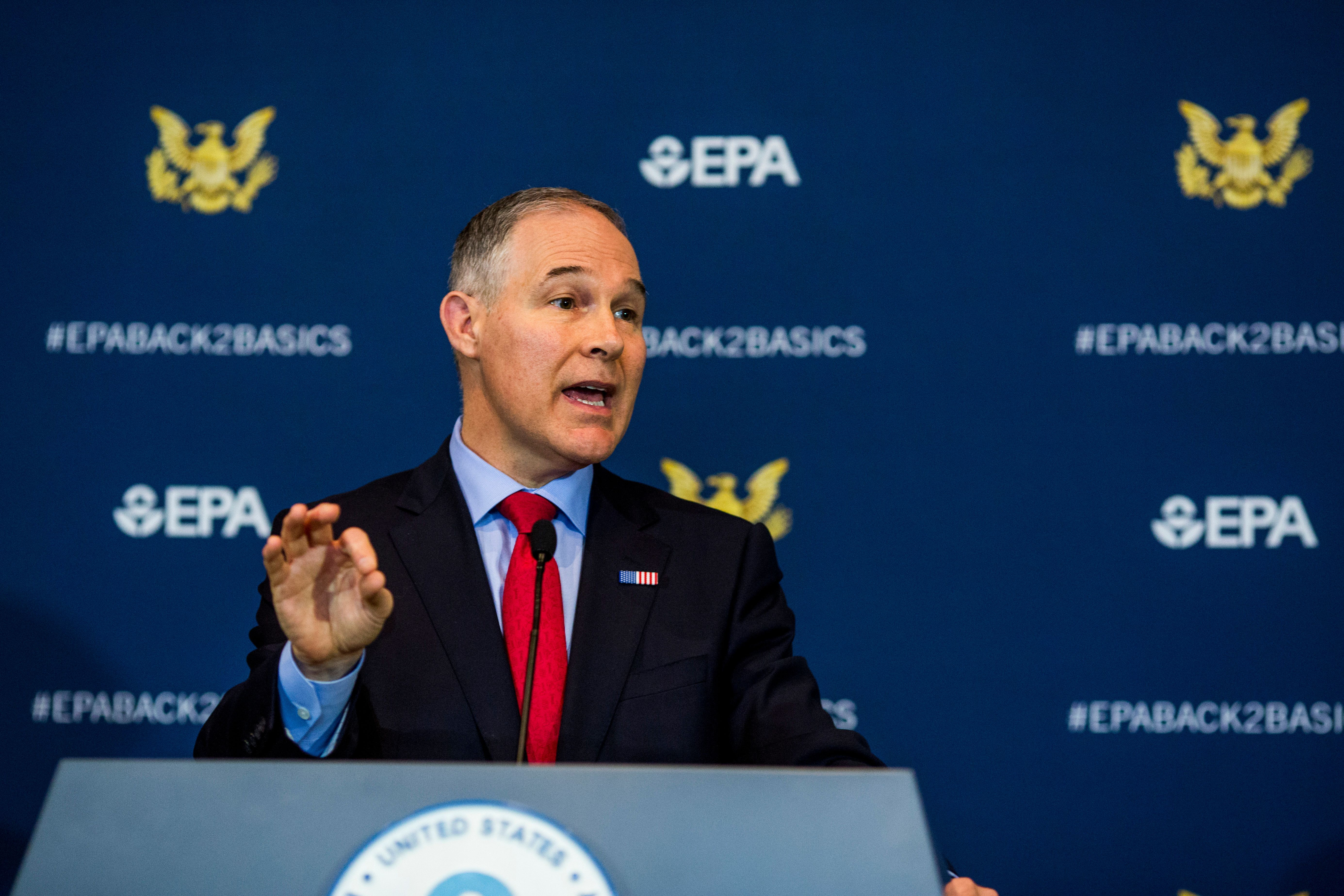 WASHINGTON, D.C. - APRIL 2: Environmental Protection Agency Administrator Scott Pruitt speaks to the press at a news conference at the Environmental Protection Agency on April 2, 2018 in Washington, D.C. The news conference was to announce the elimination of the Obama administration fuel standards for the automotive industry.  (Photo by Jason Andrew/Getty Images)