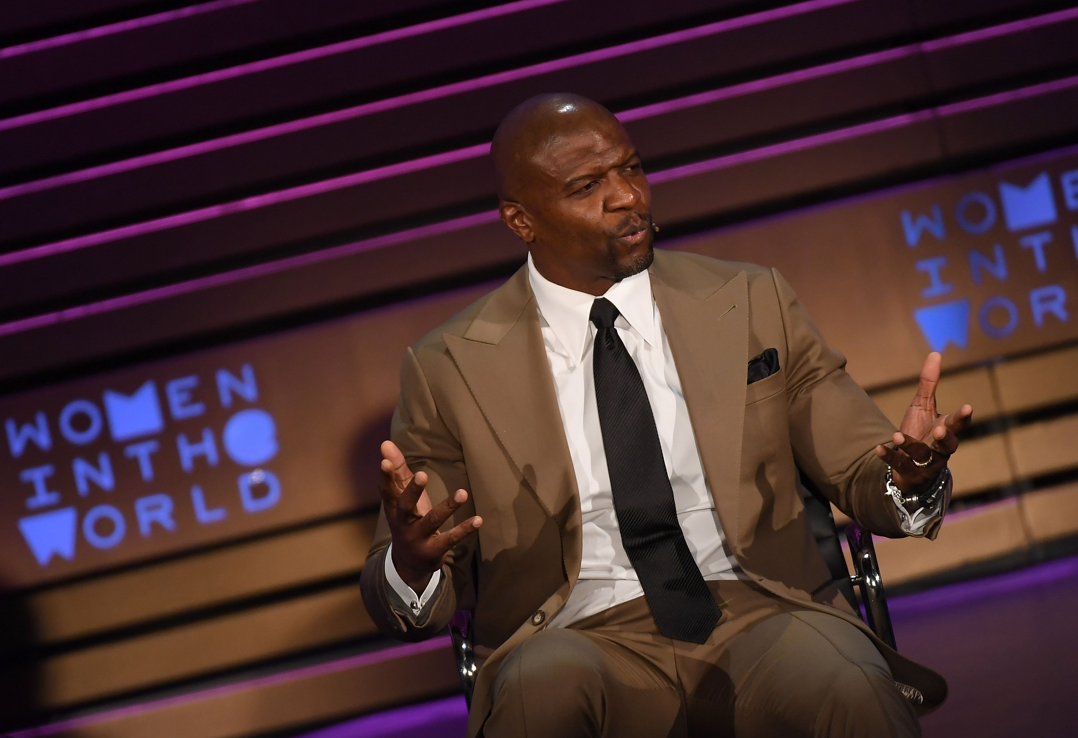 Actor and Activist Terry Crews speaks at the Women in the World Summit on April 14,  2018 in New York City. / AFP PHOTO / ANGELA WEISS        (Photo credit should read ANGELA WEISS/AFP/Getty Images)
