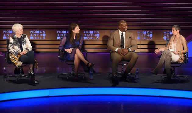 From left to right, Joanna Coles, Lauren Duca, Terry Crews and moderator Zainab Salbi are seen at the...