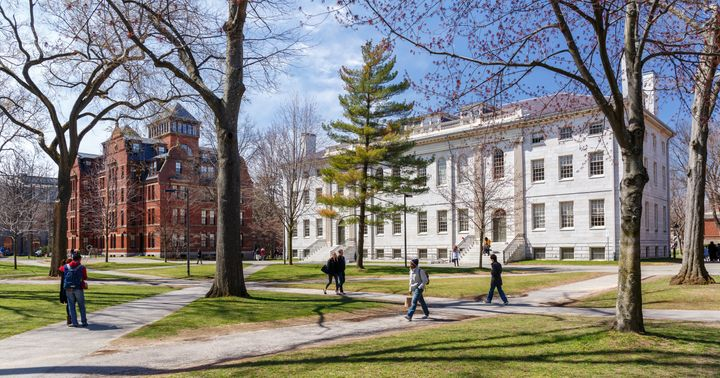Harvard University in Cambridge, Massachusetts. A close look at four-year graduation rates may make some private colleges and universities more of a bargain than public schools.