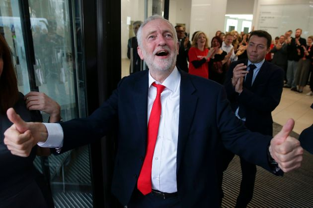 Jeremy Corbyn gives a thumbs up at Labour HQ after his unexpectedly good election showing.