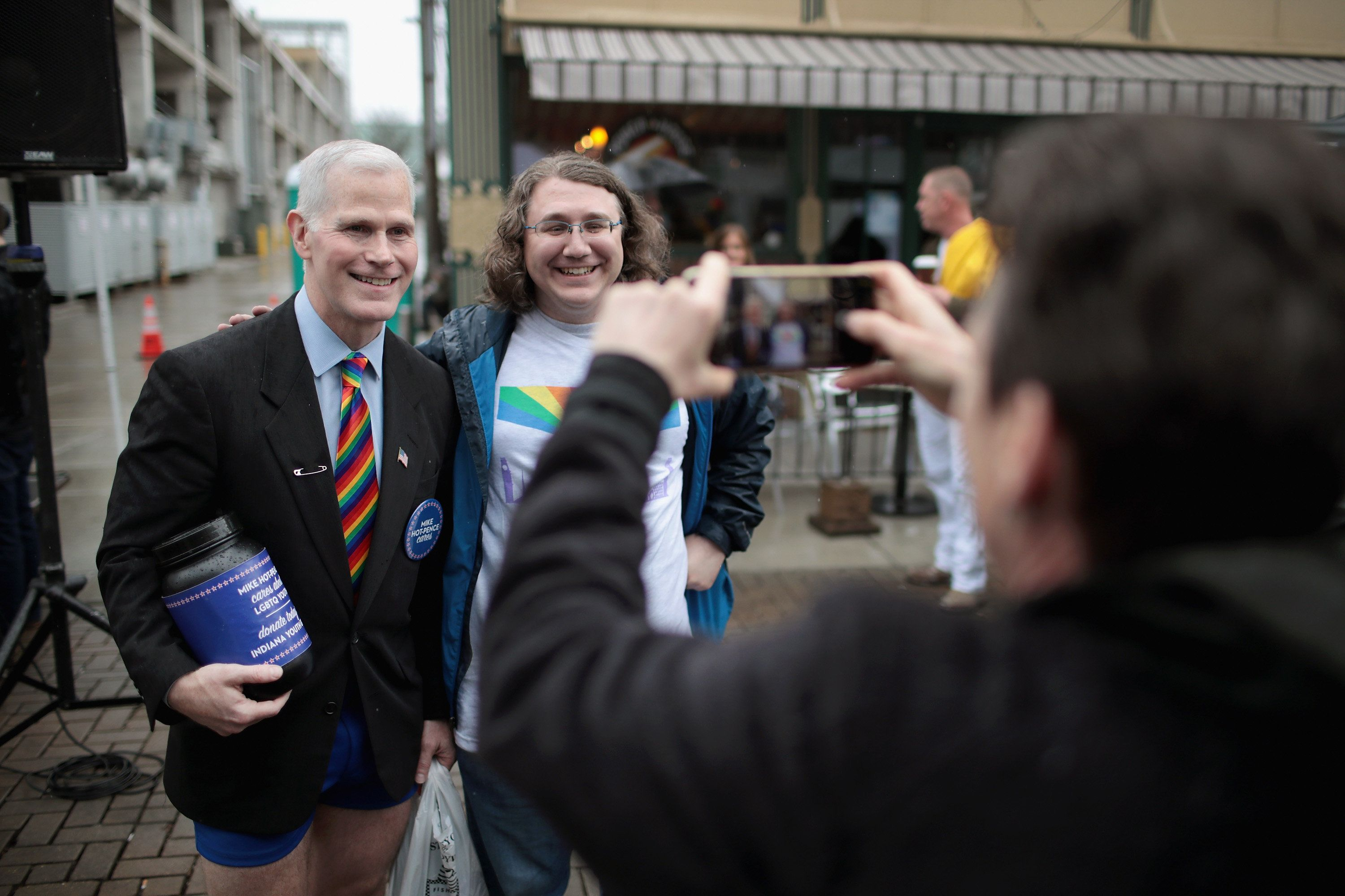 COLUMBUS, IN - APRIL 14:  Glen Pannell, also known as Mike Hot-Pence, poses for pictures with other visitors at the Columbus Pride Festival on April 14, 2018 in Columbus, Indiana. The festival was the first LGBT pride event for the community which is the hometown of Vice President Mike Pence, a vocal opponent of LGBT issues. The festival, organized by high school senior Erin Bailey, drew hundreds of visitors to the small community located about 45 miles south of Indianapolis.  (Photo by Scott Olson/Getty Images)