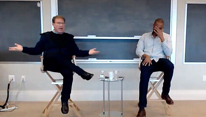Atlantic editor-in-chief Jeffrey Goldberg explains to his staff that he would die for Atlantic national correspondent Ta-Nehisi Coates in a meeting on April 6.