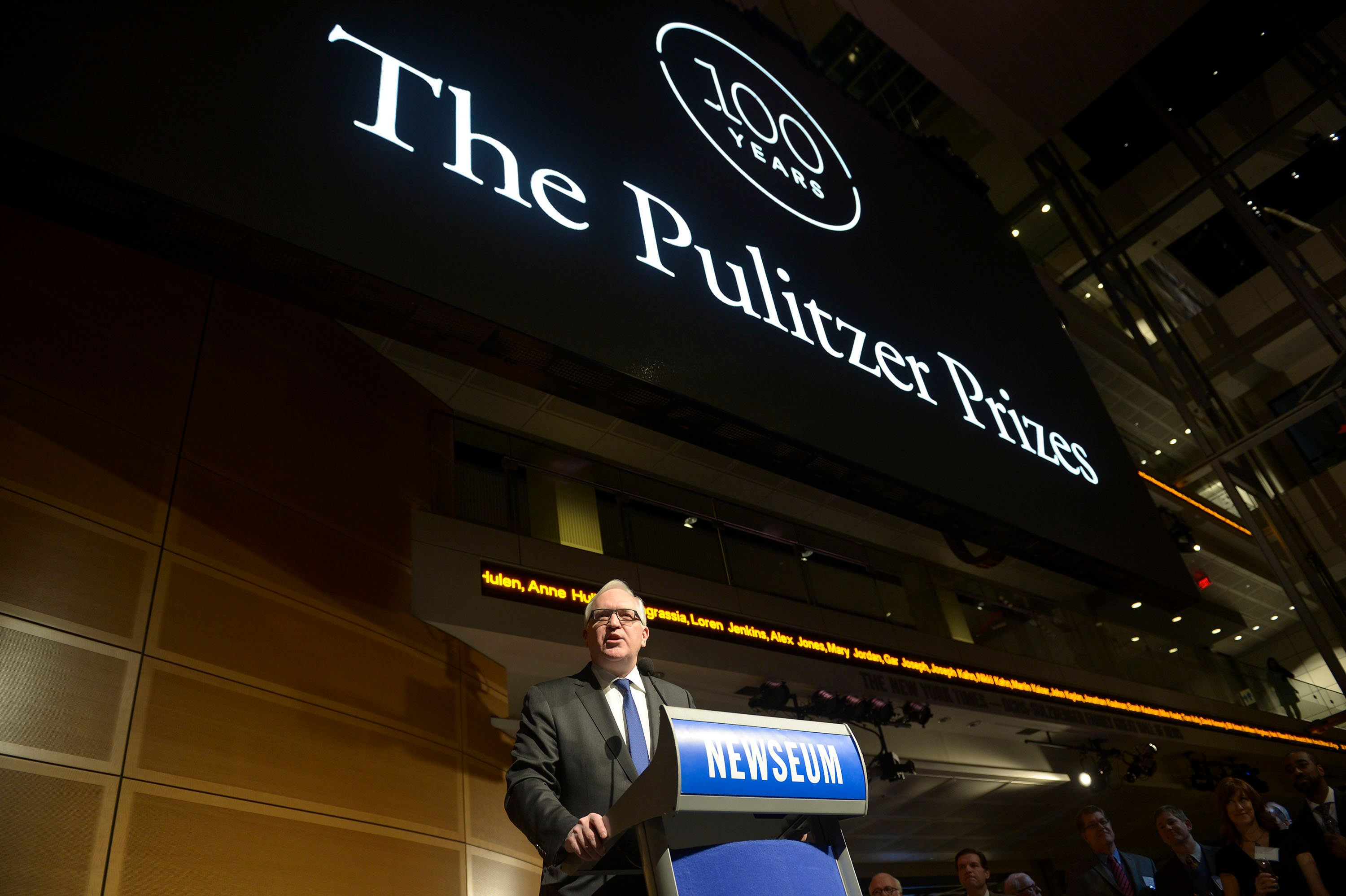 WASHINGTON, DC - JANUARY 28: Paul Gigot, Pulitzer Prize Board Chair and Editorial Page Director, The Wall Street Journal, makes opneing remarks during the Centennial Celebration of Pulitzer Prizes at The Newseum on January 28, 2016 in Washington, DC.  (Photo by Leigh Vogel/Getty Images)