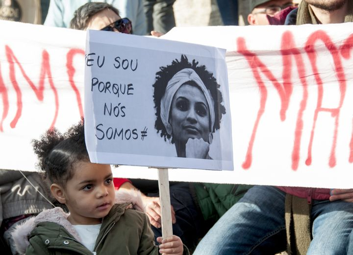 A demonstration in Rome on March 25 to remember Brazilian councilwoman and activist Marielle Franco.