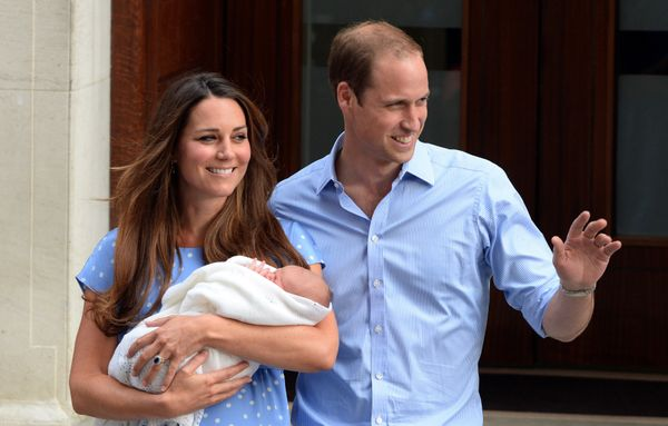 The Duke and Duchess of Cambridge posed for initial public photos of their first child, Prince George, after he was born
