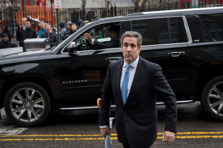 Michael Cohen, a longtime personal lawyer and confidante for President Donald Trump, arrives at the United States Distri