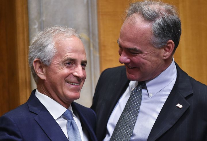 Senate Foreign Relations Committee Chairman Bob Corker (R-Tenn.), left, and Sen. Tim Kaine (D-Va.) on Capitol Hill in June 20