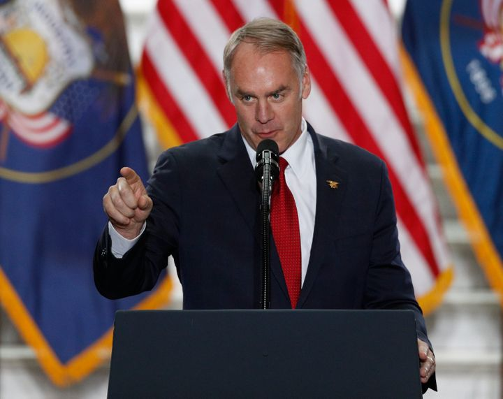 Interior Secretary Ryan Zinke gives a speech on Dec. 4, 2017, in Salt Lake City, Utah, about acreage reductions in national m