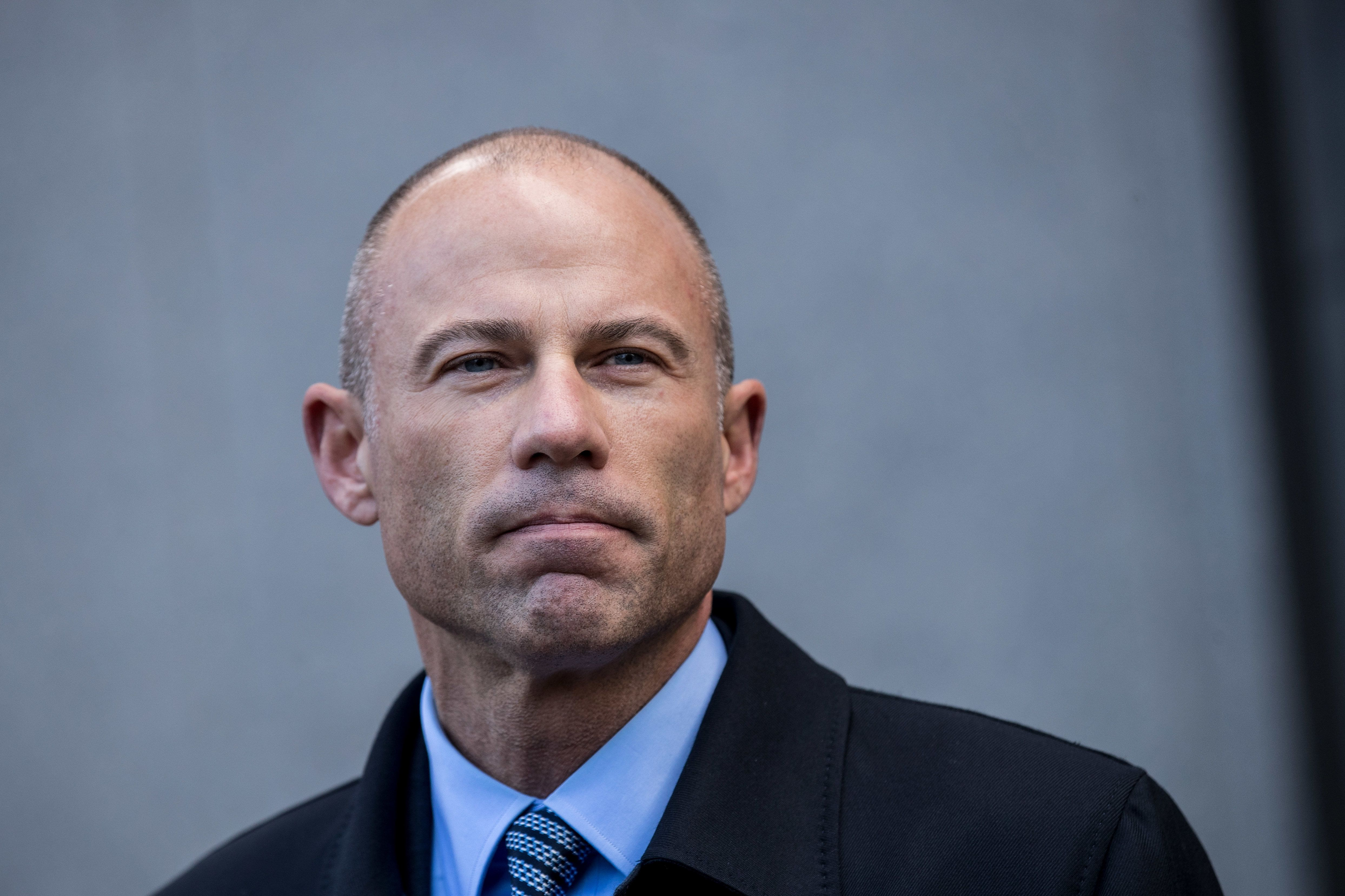 NEW YORK, NY - APRIL 16: Michael Avenatti, attorney for Stormy Daniels, speaks to reporters as he exits the United States District Court Southern District of New York for a hearing related to Michael Cohen, President Trump's longtime personal attorney and confidante, April 16, 2018 in New York City.  Cohen and lawyers representing President Trump are asking the court to block Justice Department officials from reading documents and materials related to Cohen's relationship with President Trump that they believe should be protected by attorney-client privilege. Officials with the FBI, armed with a search warrant, raided Cohen's office and two private residences last week.  (Photo by Drew Angerer/Getty Images)