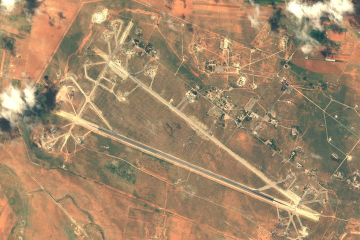 Shayrat air base was targeted last year in a U.S. cruise missile attack in response to a chemical attack that killed at least