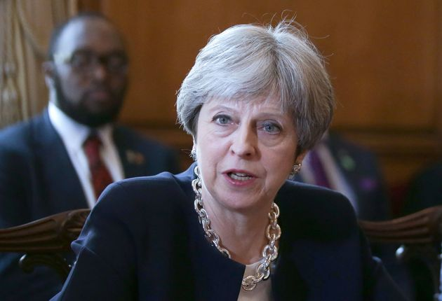 Prime Minister Theresa May says sorry during a meeting with Commonwealth leaders, Foreign Ministers and...