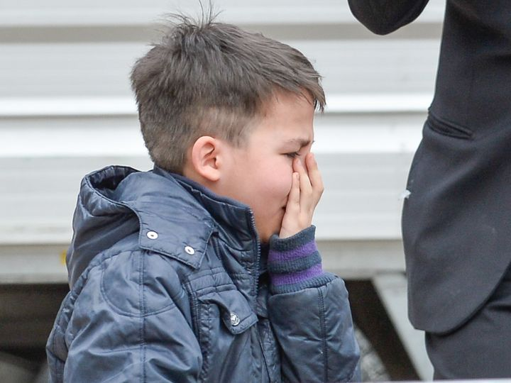 Emanuele cries during an encounter with Pope Francis on April 15.