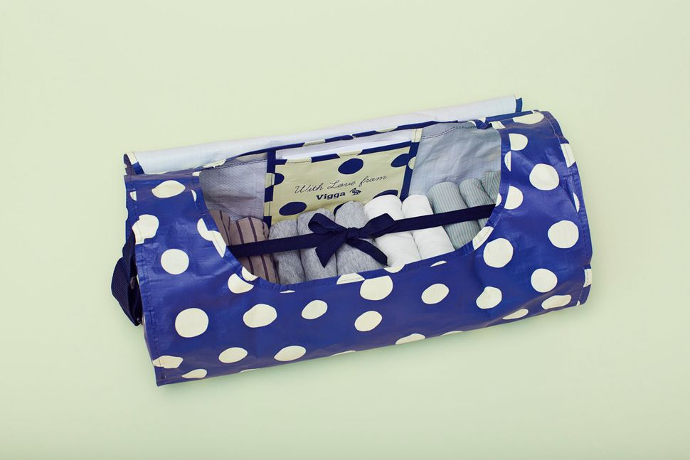 A VIGGA baby bag is sent to new parents monthly, or when the baby has grown out of the old ones.