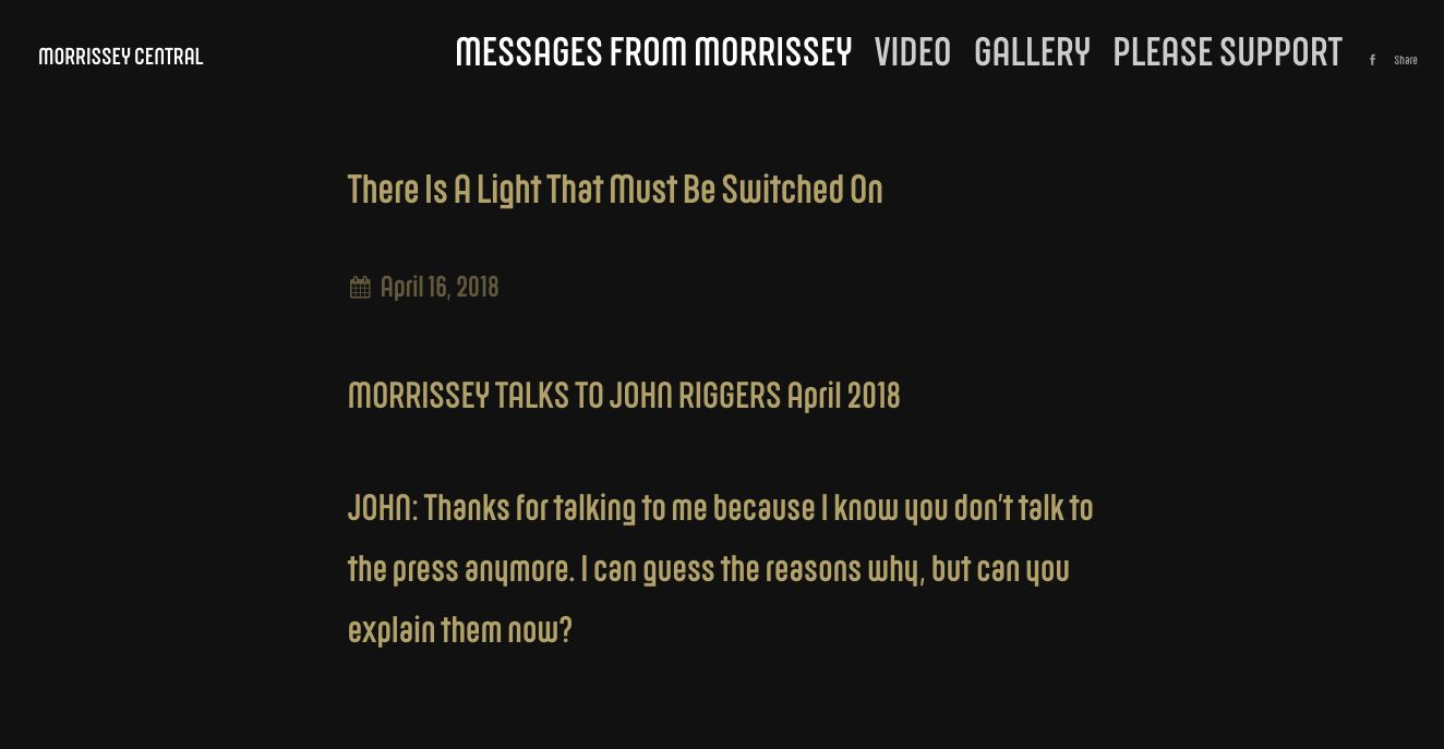 Morrissey Central                   The interviewhas been shared as a Q&A