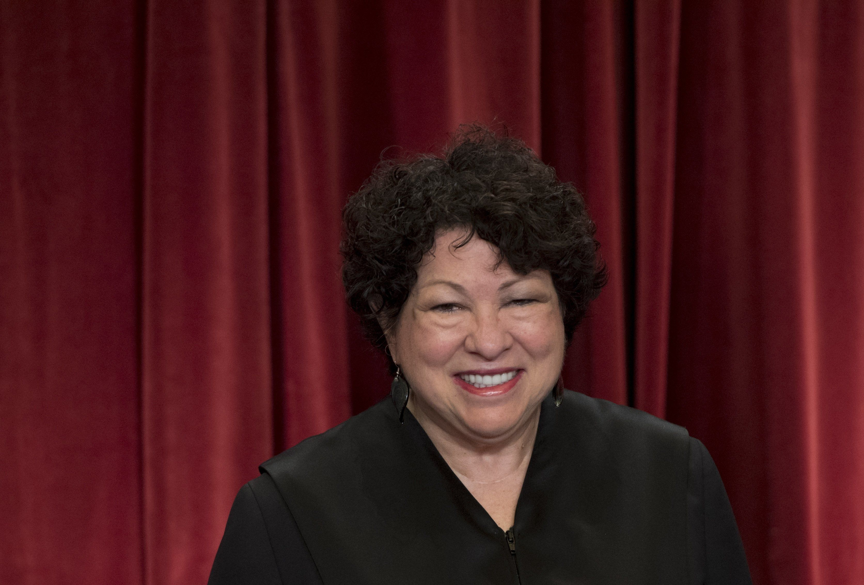 US Supreme Court Associate Justice Sonia Sotomayor stands for an official photo with other members of the US Supreme Court in the Supreme Court in Washington, DC, June 1, 2017. / AFP PHOTO / SAUL LOEB        (Photo credit should read SAUL LOEB/AFP/Getty Images)