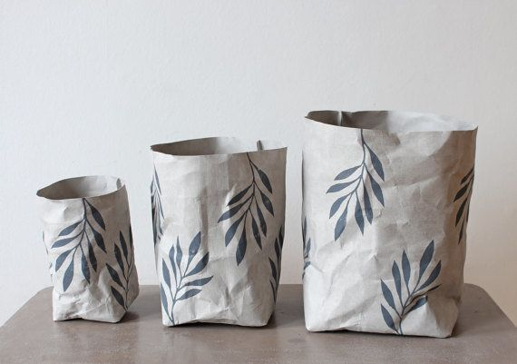 These washable bags are made of natural cellulose that's hand block printed with solvent-free inks. They're lightweight, can