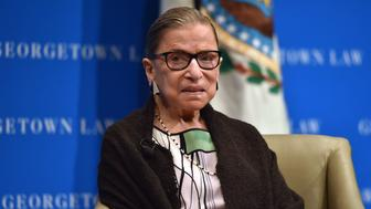 US Supreme Court Justice Ruth Bader Ginsburg looks on as she  speaks to first year Georgetown University law students in Washington, DC on September 20, 2017.  / AFP PHOTO / Nicholas Kamm        (Photo credit should read NICHOLAS KAMM/AFP/Getty Images)