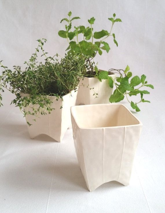 """These footed planters are ideal for herbs, succulents and small cacti. (No need to eve re-pot!) It has <a href=""""https://www.e"""
