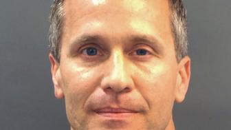 Missouri Governor Eric Greitens appears in a police booking photo in St. Louis, Missouri, U.S. February 22, 2018.  St. Louis Metropolitan Police Dept./Handout via REUTERS ATTENTION EDITORS - THIS IMAGE WAS PROVIDED BY A THIRD PARTY. THIS PICTURE WAS PROCESSED BY REUTERS TO ENHANCE QUALITY. AN UNPROCESSED VERSION WILL BE PROVIDED SEPARATELY.