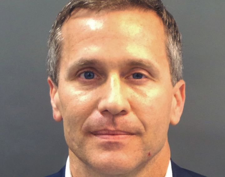 Greitens appears in a Feb. 22 police booking photo after he was charged with felony invasion of privacy. Tuesday's annou