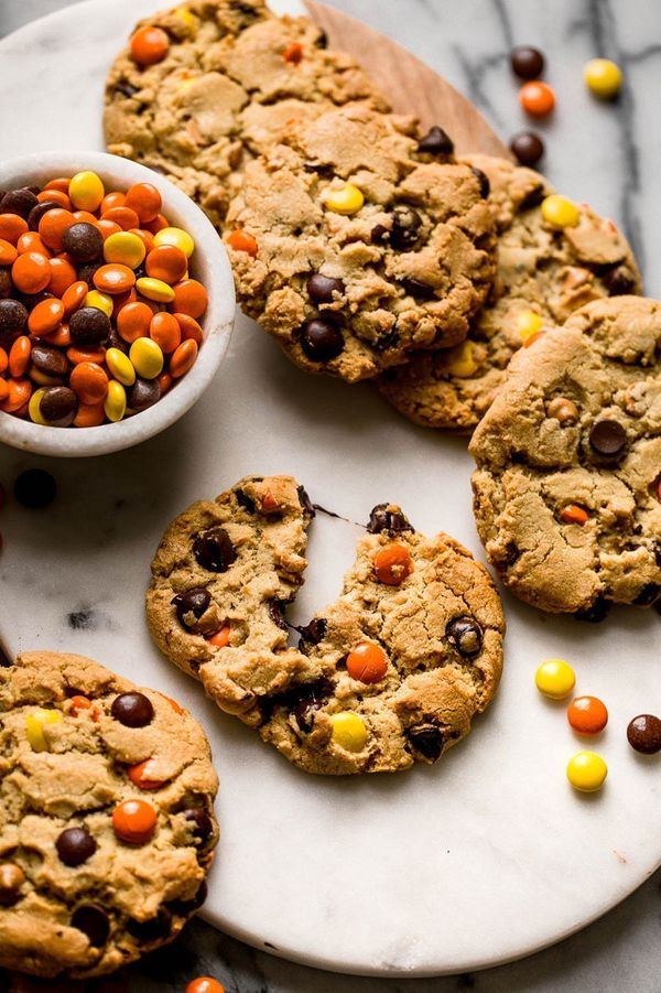 """<strong>Get the <a href=""""https://www.handletheheat.com/giant-reeses-pieces-chocolate-chip-cookies/"""" target=""""_blank"""">Giant Ree"""