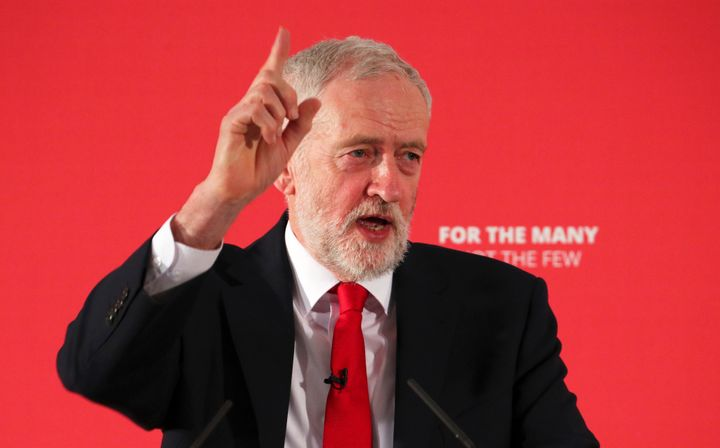 Jeremy Corbyn, the leader of Britain's Labor Party, speaks at the launch of a local election campaign, in London.