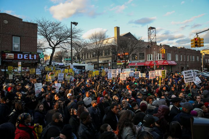 In this April 5 photo, demonstrators flood the intersection in Crown Heights, Brooklyn, where police fatally shot S
