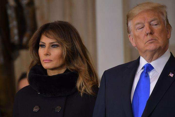 First lady Melania Trump and President Donald Trump on Feb. 28 at the Capitol.