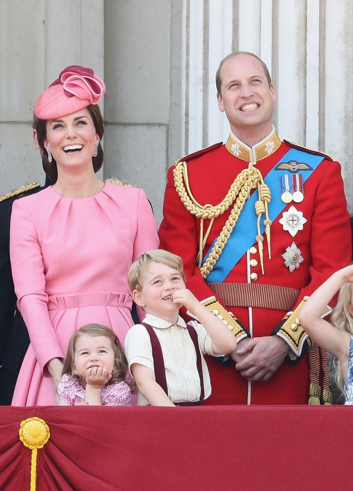 Catherine, Duchess of Cambridge, Princess Charlotte of Cambridge, Prince George of Cambridge and Prince William, Duke of Camb