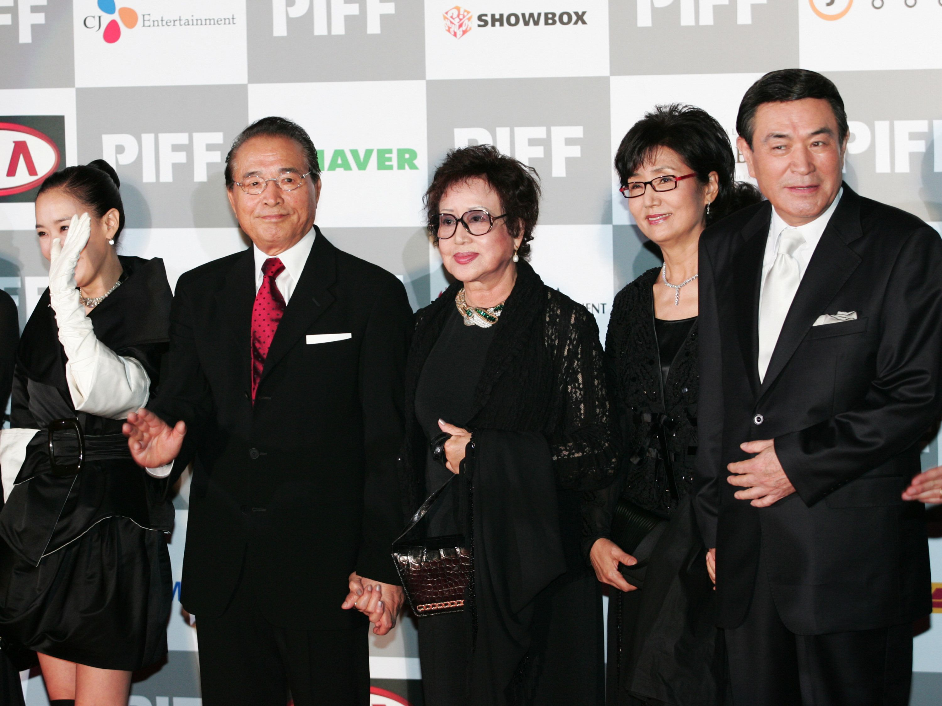 Shin Hyung-Kun and Choi Eun-Hee and Namgung Won during The 11th Pusan International Film Festival Opening Ceremony - Arrivals at Suyoungman Yacht Stadium in Pusan, Pusan, South Korea. (Photo by Han Myung-Gu/WireImage)