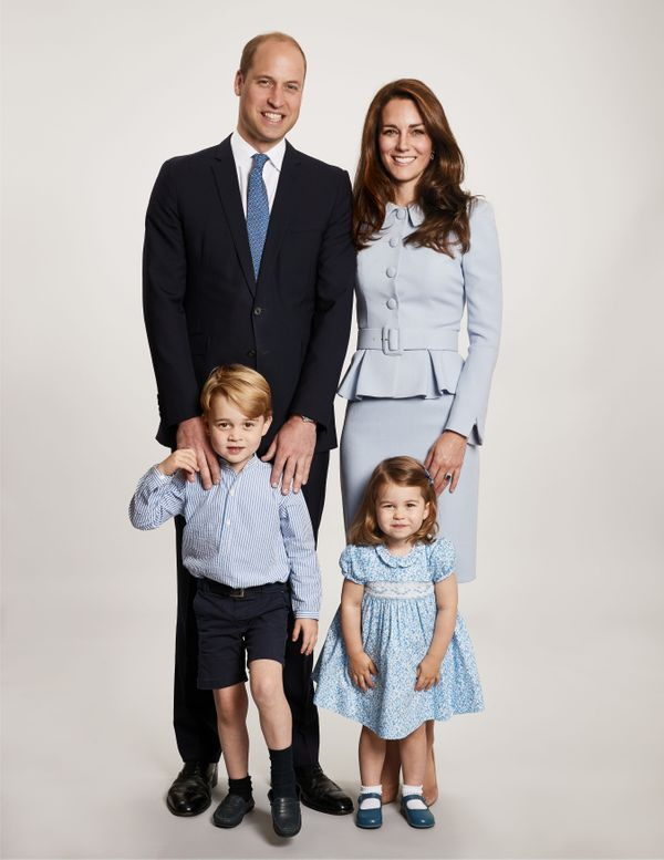 This family photo of William, Kate, George and Charlotte was used for their 2017 Christmas cards. The duke and duchess are ex